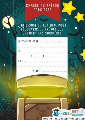 Carte d'invitation chasse au trésor sorcières d'halloween