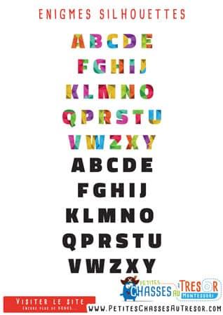 Enigmes pour les petit sur les lettres de l'alphabet