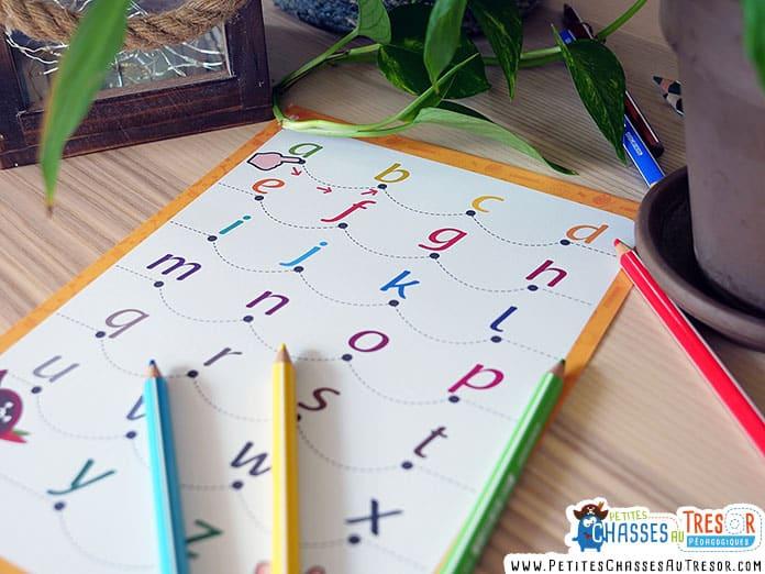 Fiche pour apprendre l'alphabet facilement