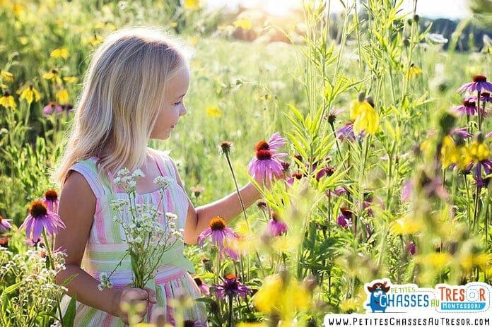 une enfant ramasse des fleures dans la nature