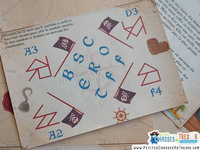 Chasse au trésor de pirate énigme avec des lettres