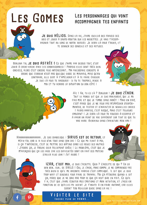 Les personnages des aventures